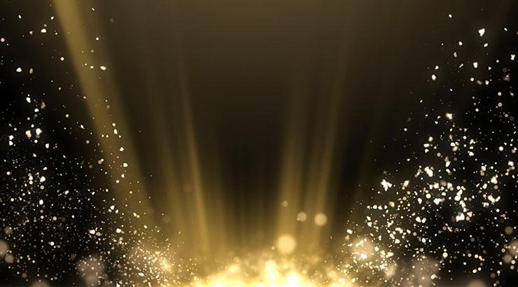漂亮金色光线光点粒子