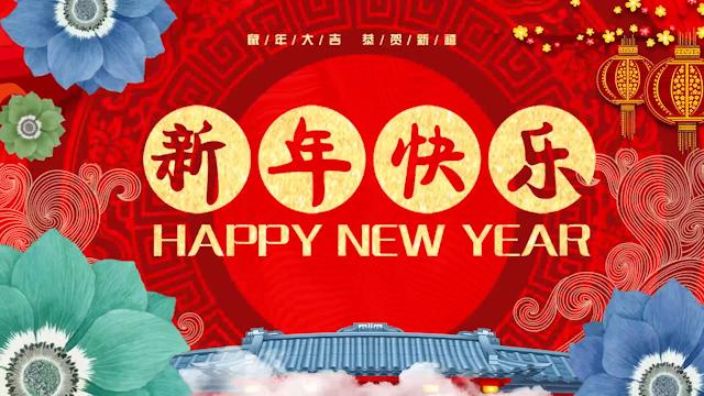 花朵装饰喜庆拜年框视频素材AE模板