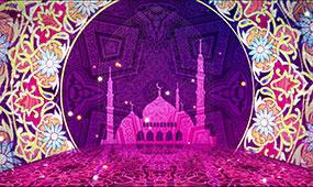 紫色华丽欧式花纹宫殿背景