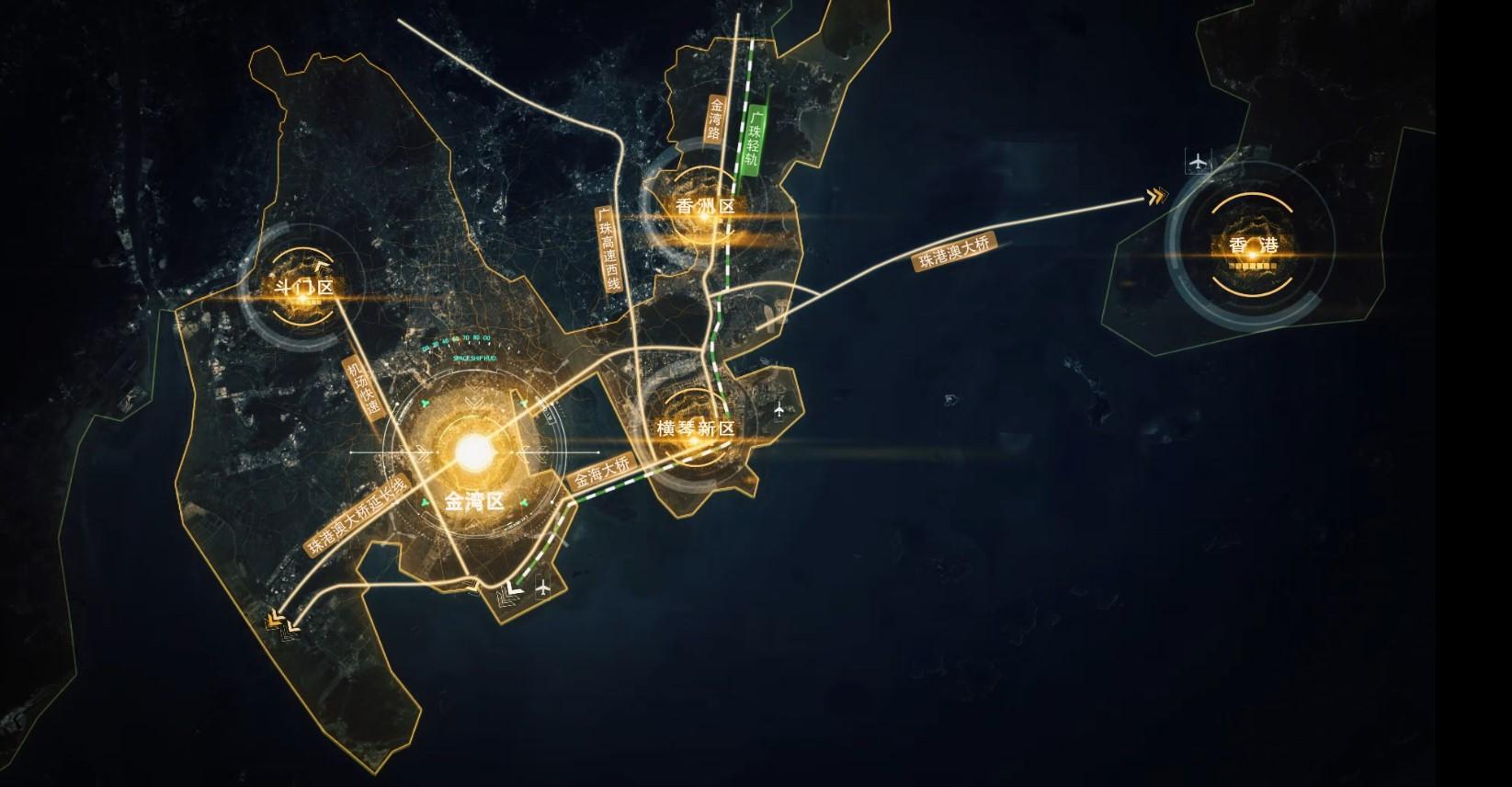 广东珠海粤港澳大湾区香港区位科技感地图